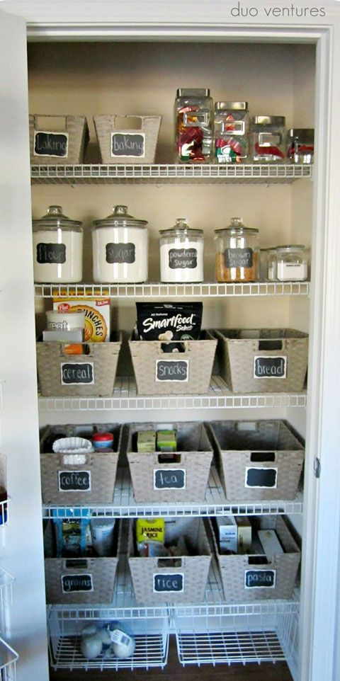 If you don't have too many storage containers, use baskets to group things and label the basket. Great idea.