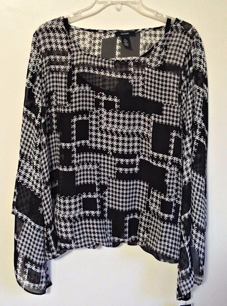 Alfani Chiffon Blouse Top Black Gray Houndstooth Asymmetric Sleeve Lined Large L #Alfani #Blouse #Career
