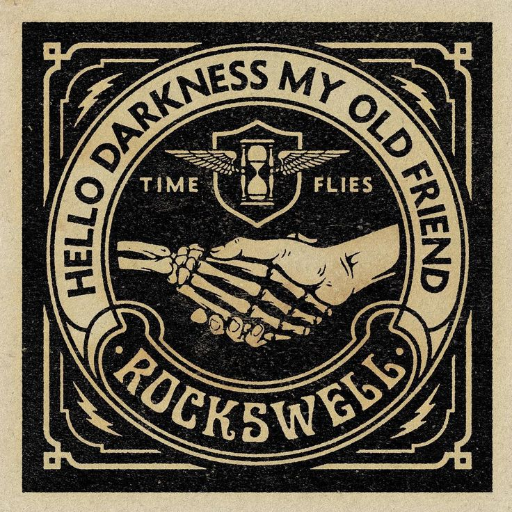 Hello Darkness by artist Aaron von Freter for Rockswell. custom typography, 70s style, vintage, retro, logo, t-shirt, Rockswell, classic rock, rock&roll, type, graphic design, hello darkness, simon and garfunkle, time flies, rock poster