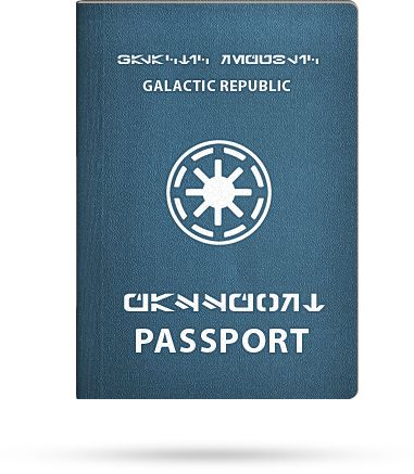 Galactic Republic Passport.  I bet this would cause a stir with the TSA...