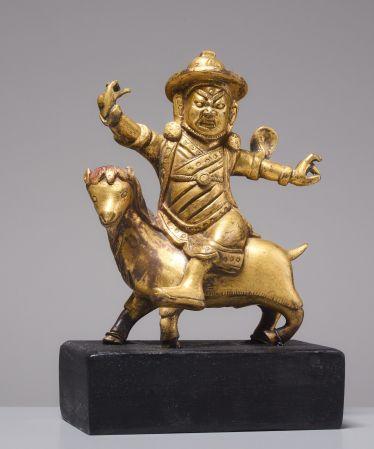 FEUERVERGOLDETE BRONZE DES DAMCAN AUF ZIEGENBOCK#porzellan #skulpturen #keramik #bronze