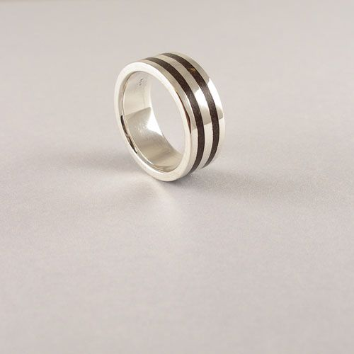 Handmade wide band 925 Silver Ring with Coconut Shell.