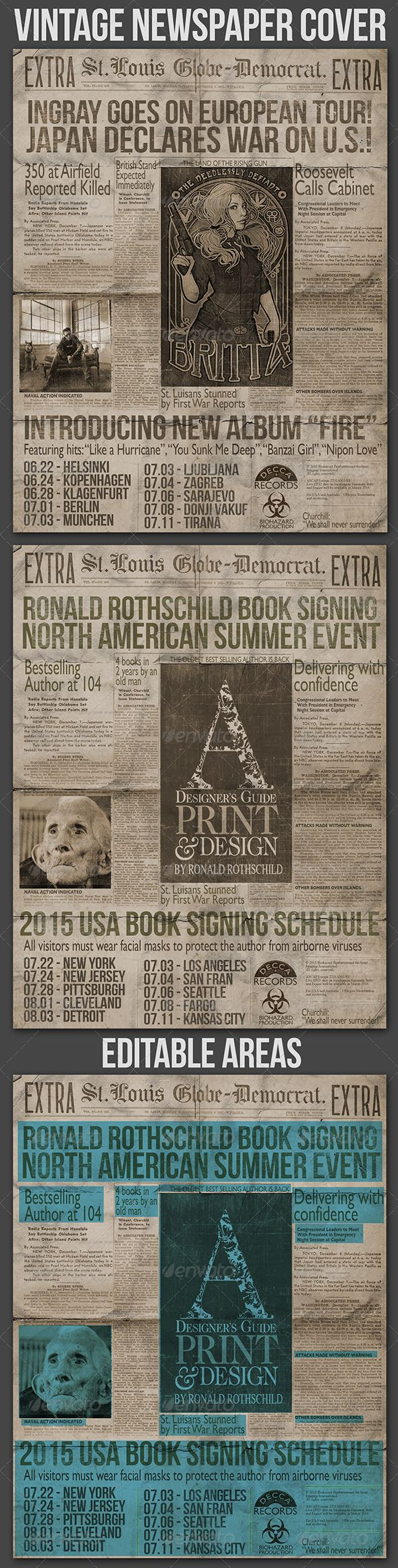 Vintage Newspaper Cover — Photoshop PSD #book signing #tour poster • Available here → https://graphicriver.net/item/vintage-newspaper-cover/6594552?ref=pxcr