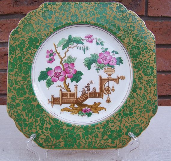 Vintage Wedgwood Plate with Coloured Willow Pattern, 1950s, Home Decor, UK Seller