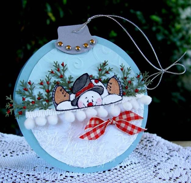 cute ornament tag using Relaxed Snowman stamp & pom pom ribbon - bjl
