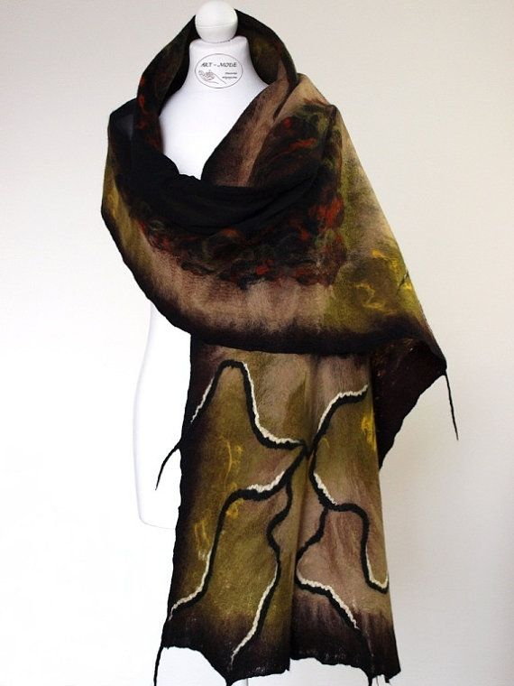 Nuno felted scarf winter black and brown by ArtMode on Etsy