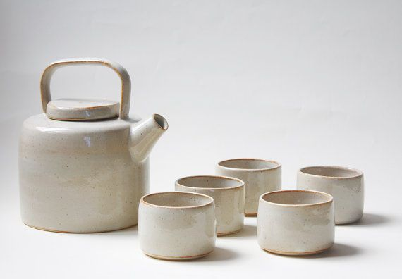 MADE TO ORDER - Tea Set Handmade Ceramic - Tea pot and cups inspired by Lucie Rie Made in Italy Studio Pottery