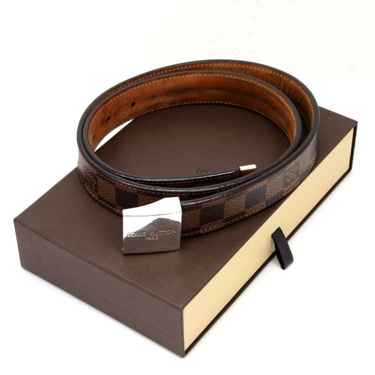 Authentic Louis Vuitton brown damier canvas belt in 34/85. Silver color LOUIS VUITTON PARIS buckle. It can be worn casually with jeans or formal with suits. It will make nice statement and always look great! #LouisVuitton #Belt @fmasarovic