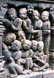 Carved stone, Borobudur, Java, Indonesia. Borobudur was likely founded during the peak of the Sailendra dynasty in central Java, when it was under the influence of the Srivijayan Empire.