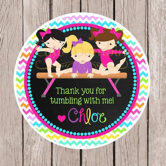 PRINTABLE Gymnastics Party Favor Tags /  Print Your by ciaobambino