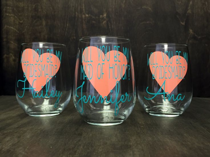 Will You Be My Bridesmaid Glass, Will You Be My Maid of Honor Glass, Bridal Party Glass, Personalized Bridesmaid Glass,Stemless Wine Glass by EyeCatcherDecals on Etsy https://www.etsy.com/listing/276768316/will-you-be-my-bridesmaid-glass-will-you