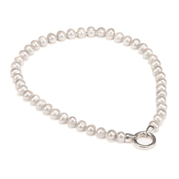 Pearl necklace, light grey, 55€ http://www.taika-korut.fi/product/57/helmikaulakoru-klipsilukolla-vaaleanharmaa