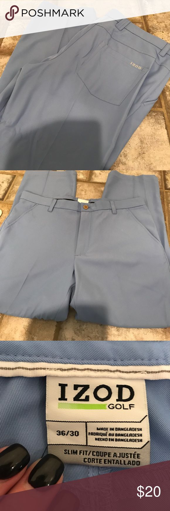 Izod golf pants in baby blue New without tags I thought golf pants baby blue in color.   never worn Izod Pants