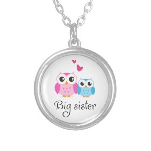 Cute owls big sister little brother cartoon custom jewelry
