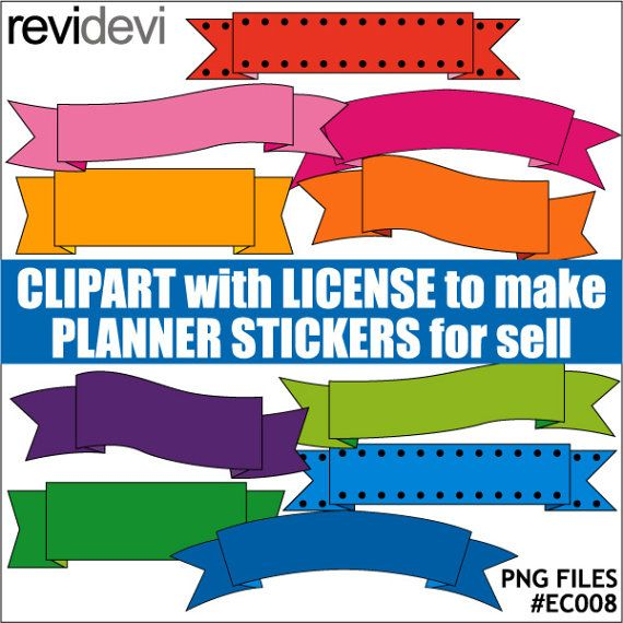 Banners ribbons clipart for journal planner stickers  by revidevi