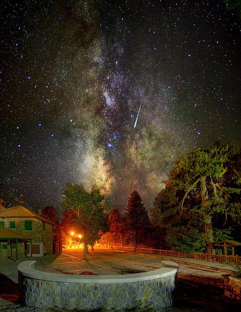 The Milky Way and Shooting Star, Troodos Square, Cyprus