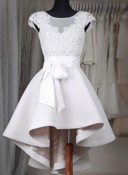 Princess Little White Dresses,High Low Homecoming Dresses,Lace Appliqued Short Wedding Dresses,1848