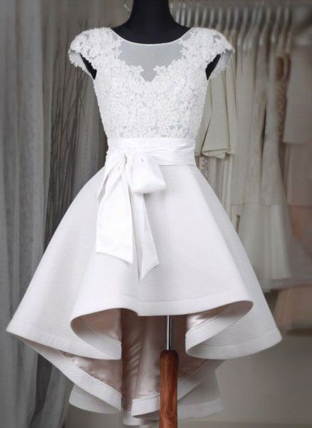 Princess Little White Dresses,High Low Homecoming Dresses,Lace Appliqued Short Wedding Dresses,1848