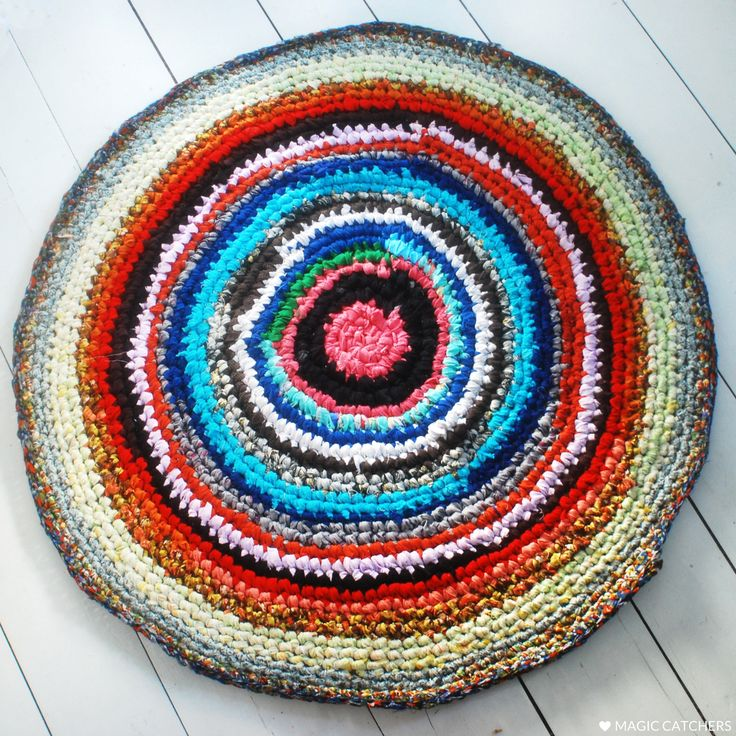 Pink, red, yellow, colorful rug, good idea for kidsroom. Hand made from upcycled fabrics by Magic Catchers.
