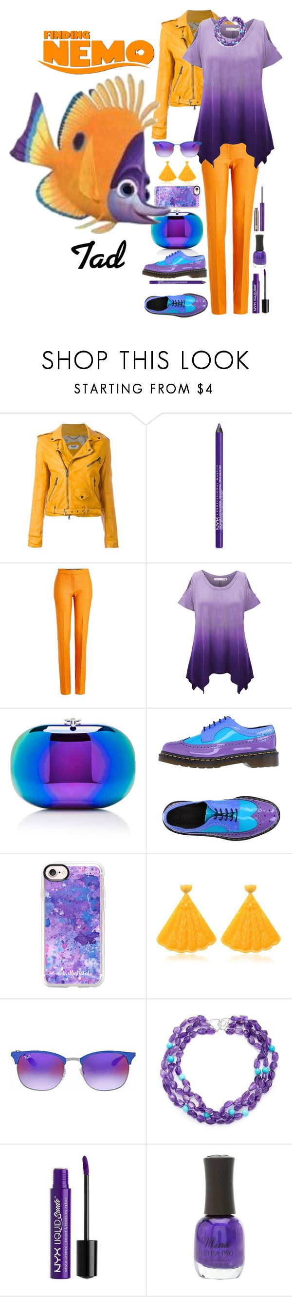 """""""Tad"""" by allyssister ❤ liked on Polyvore featuring Pihakapi, NYX, Victoria, Victoria Beckham, WithChic, Jeffrey Levinson, Dr. Martens, Casetify, Mariah Rovery, Ray-Ban and Arthur Marder Fine Jewelry"""