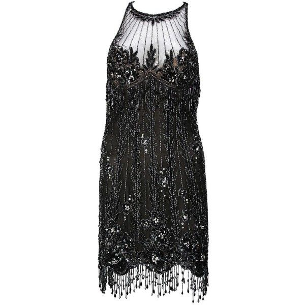 Pre-owned Bob Mackie 20s Inspired Beaded Gatsby Flapper Dress ($3,495) ❤ liked on Polyvore featuring dresses, cocktail dresses, evening dresses, fringe flapper dress, mini dress, short dresses, 1920s gatsby dresses and beaded dress