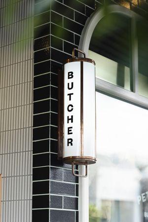 old school Butcher sign | EAT-DRINK-DESIGN awards. Doherty Lynch design. Peter Bouchier Butcher #vintage