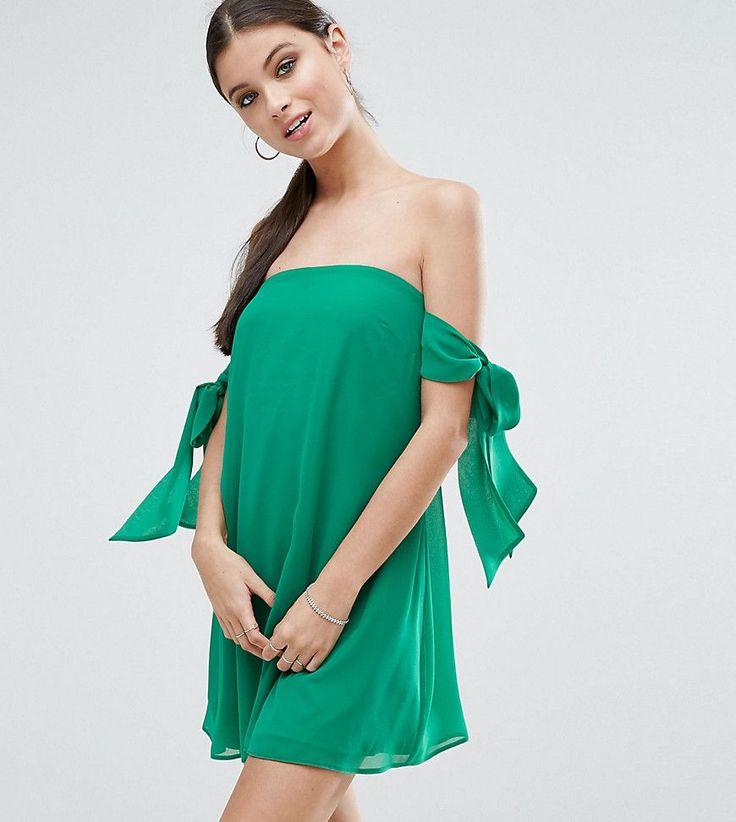 ASOS PETITE Bow Cold Shoulder Trapeze Mini Dress - Green