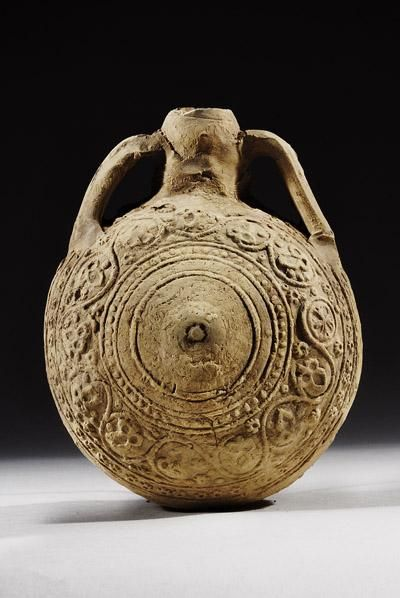 Syrian Pilgrim Flask | 11th Century AD - 12th Century AD | Price $5,000.00 | Islamic, Syrian | Terracotta | Vessels | eTiquities by Phoenix Ancient Art