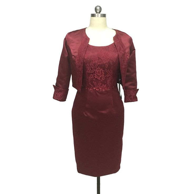 2017 Burgundy Satin Mother Of The Bride Dresses Three Quarter Lace Beading Godmother Dress Knee length For Jackets Custom Made