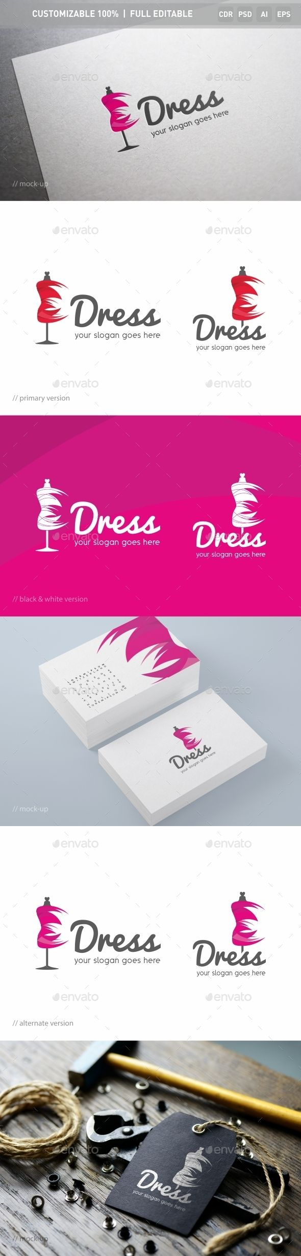 Dress Logo Template — Photoshop PSD #women #crafted • Download here → https://graphicriver.net/item/dress-logo-template/13944498?ref=pxcr