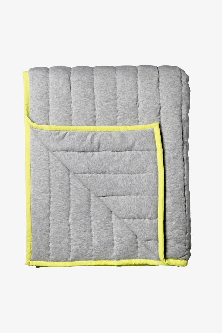 Bloomingville Quilted Throw in Grey with Neon Yellow available at Superette #throw #superettestore