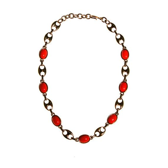 Monet Coral Bead and Mariner Chain Necklace, Gold Tone, Designer Vintage