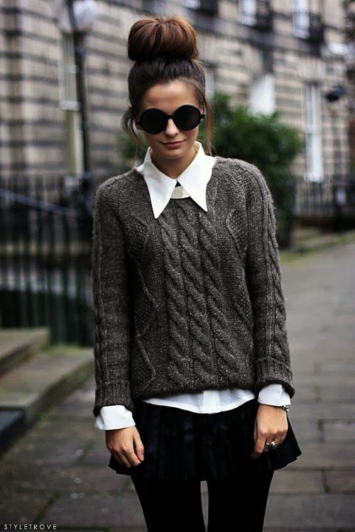 Fall Style With Wire Knit Sweater and Circle Shades // love the jumper over a collared shirt look, the up bun is not really my thing but the style itself is great especially looking fashionable for a dark winter