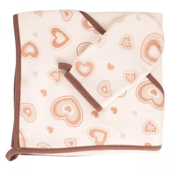 La serviette de bain avec une capuche, 80 x 80 cm, et son gant de toilette / 5-Bath towel with hood, 80 x 80 cm, and washing Glove