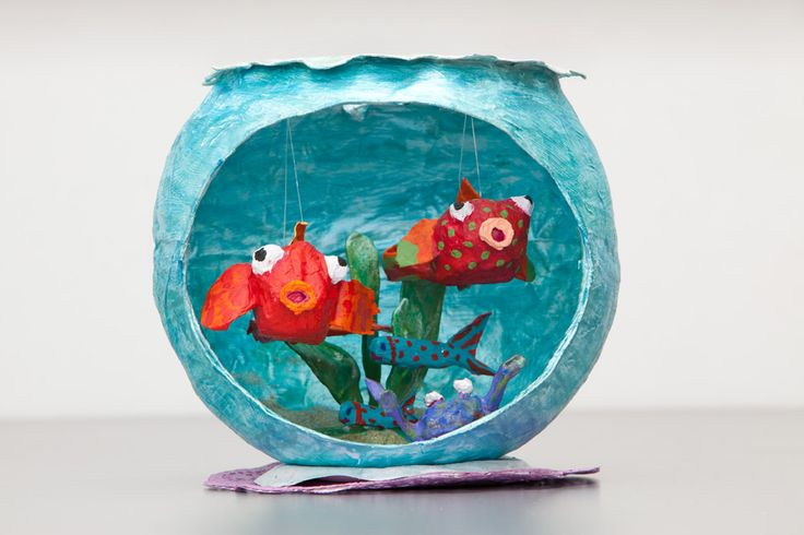 DIY! Great Idea for Norooz instead of buying fish. Paper mache bowl :)