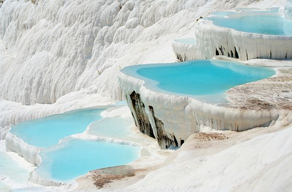 Pamukkale, Denizli, Turkey What an amazing place!  We waded in the salty warm water.