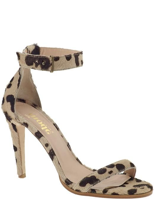 Mode Collective leopard pony ankle strap heels