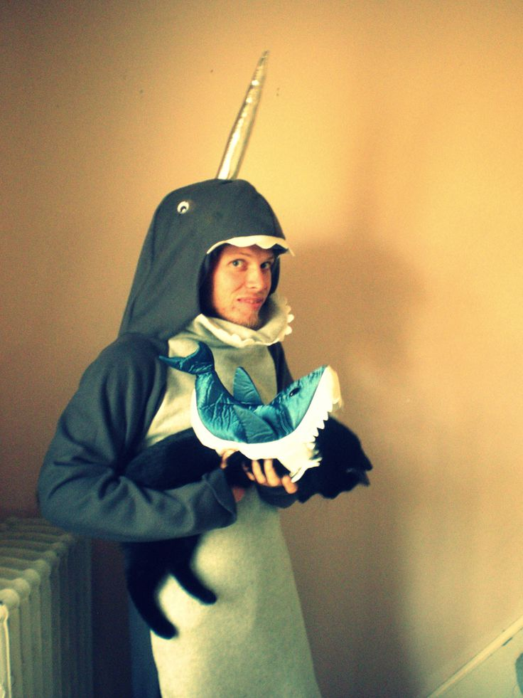 Narwhal costume with shark cat costume