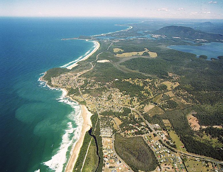 Wider aerial view of Bonny Hills, Mid-North Coast, NSW.