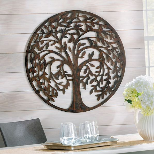 28 Round Antique Brown Metal Tree Of Life Wall Art Sculpture Indoor Outdoor Metal Tree Wall Art Wall Sculpture Art Metal Tree