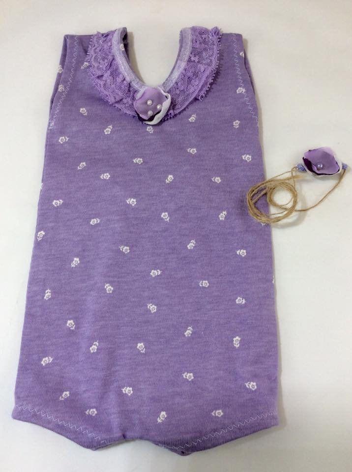 3c4901592366 Newborn baby romper - lavender romper - purple romper - photography prop -  newborn tieback -