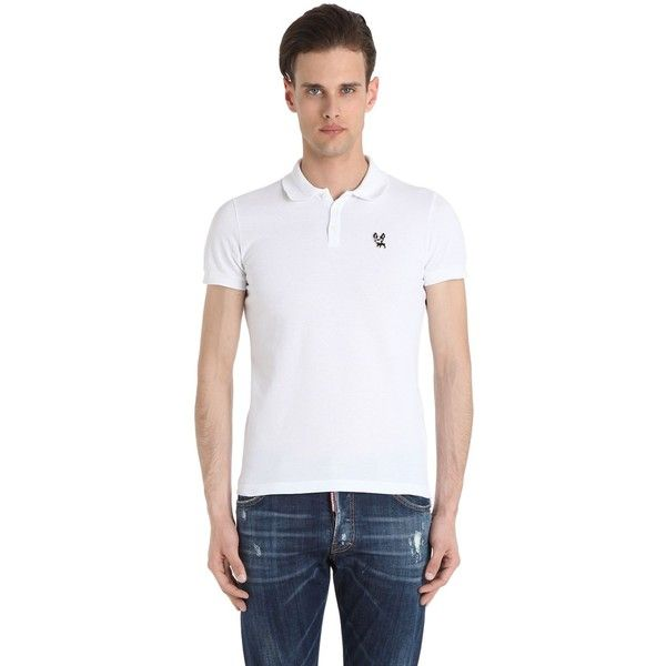 Dsquared2 Men Ciro Cotton Cotton Pique Polo Shirt ($165) ❤ liked on Polyvore featuring men's fashion, men's clothing, men's shirts, men's polos, white, mens white shirts, mens white cotton shirts, mens white polo shirt, men's cotton polo shirts and mens polo shirts