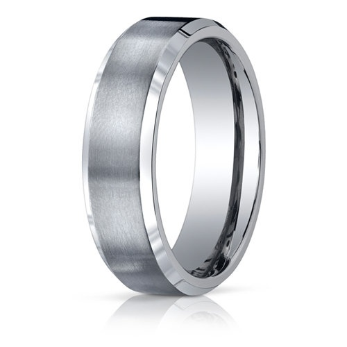 A Satin Finish Gives Way To Two Polished Beveled Edges In This Striking Men S Anium Wedding Band