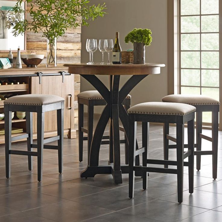 Bistro Breakfast Table Part - 16: Stone Ridge 5 Pc Bistro Table And Bar Stool Set By Kincaid Furniture
