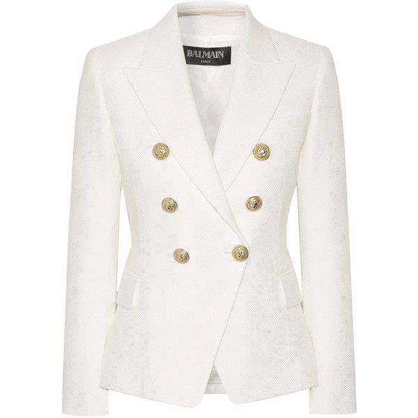 Balmain Double-breasted cotton blazer ($2,155) ❤ liked on Polyvore featuring outerwear, jackets, blazers, white, white cotton blazer, balmain jacket, balmain blazer, double breasted jacket and white cotton jacket