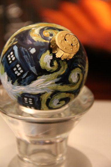 Doctor Who: Van Gogh TARDIS Hand-painted Glass Christmas Ornament. $20.00, via Echo Base.