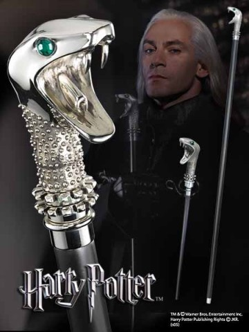 Lucius Malfoy's 1st Wand, which was kept in a snake-headed walking stick. It was made of: Elm 18 inches long with Dragon Heartstring, which was unyielding. It was later borrowed/taken by Lord Voldemort.