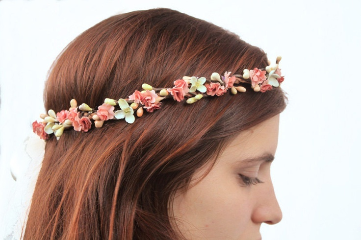 Coral Peach Flower Crown - Flower Hair Wreath, Bridal ...