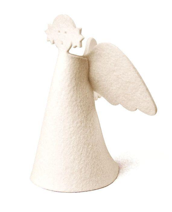 Wool felt angel tree topper  minimalist holiday by SKANDINAVIOUS