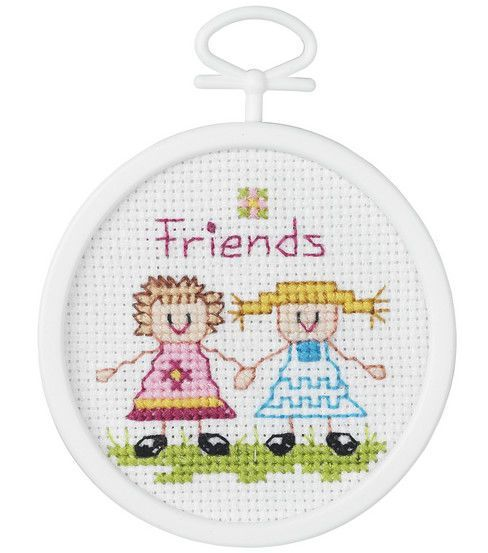 "Friends Mini Counted Cross Stitch Kit-2-1/2"" Round 18 Count"